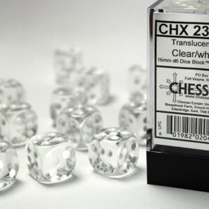 Chessex 12d6 Clear with White 16mm (12) - CHX23601
