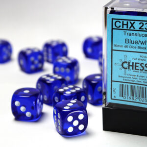 Chessex 12d6 Blue with White 16mm (12) - CHX23606