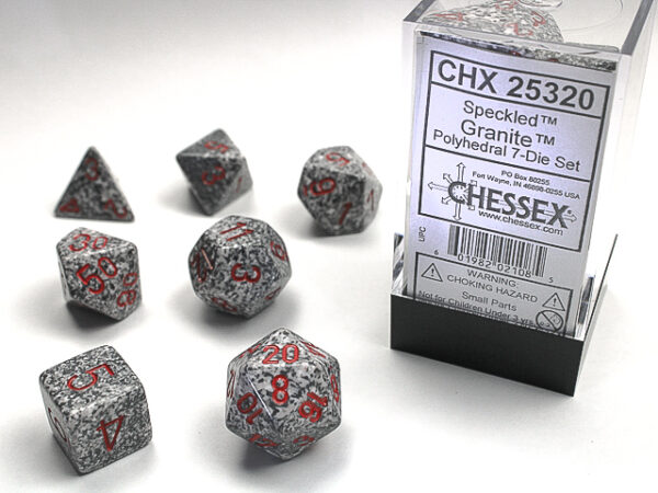 Chessex Polyhedral Speckled Granite (7) - CHX25320