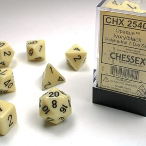 Chessex Polyhedral Opaque Ivory/Black (7) - CHX25400