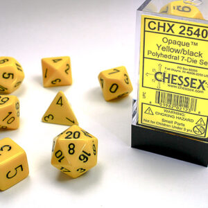 Chessex Polyhedral Opaque Yellow/Black (7) - CHX25402