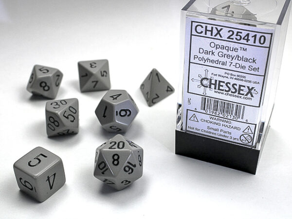 Chessex Polyhedral Opaque Grey/Black (7) - CHX25410