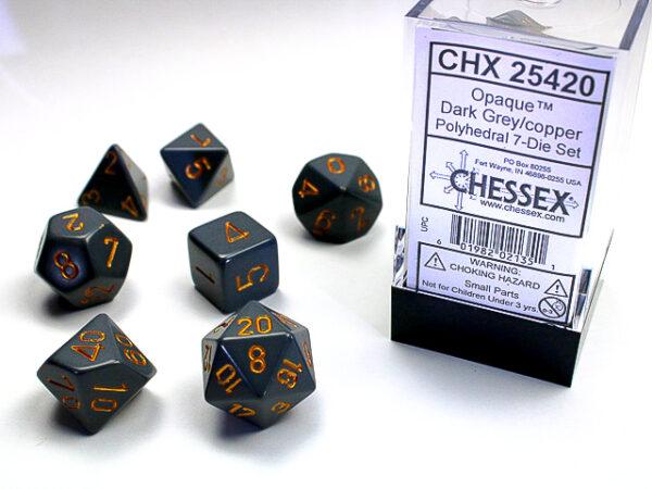 Chessex Polyhedral Opaque Dark Grey/Copper (7) - CHX25420