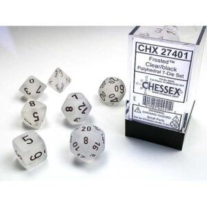 Chessex Polyhedral Frosted Clear/Black (7) - CHX27401