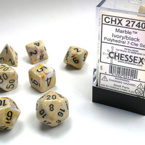Chessex Polyhedral Marble Ivory/Black (7) - CHX27402