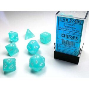 Chessex Polyhedral Frosted Teal/White (7) - CHX27405