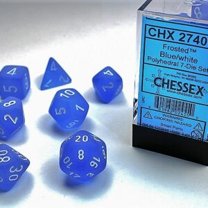 Chessex Polyhedral Frosted Blue/White (7) - CHX27406