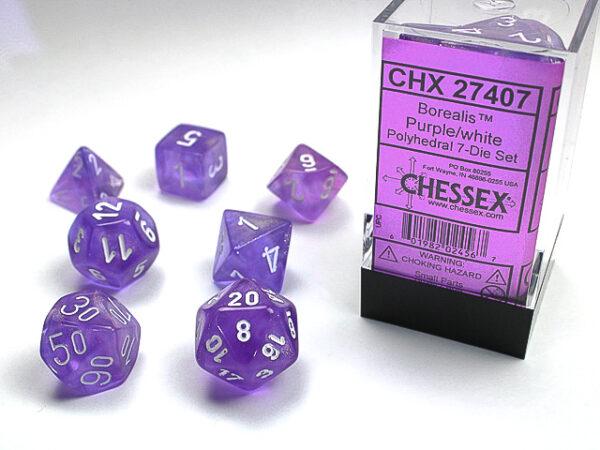 Chessex Polyhedral Borealis Purple/White (7) - CHX27407