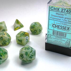 Chessex Polyhedral Marble Green/Dark Green (7) - CHX27409