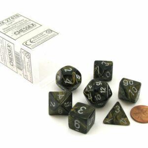 Chessex Polyhedral Leaf Black Gold/Silver (7) - CHX27418