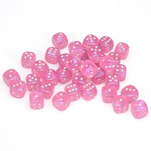 Chessex 36d6 Signature Borealis Pink/Silver 12mm (36) - CHX27804