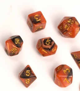 Blackfire: Dice Fairy RPG Set BiColor Black Orange (7)