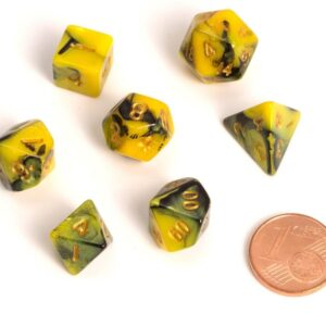 Blackfire: Dice Fairy RPG Set BiColor Yellow Black (7)