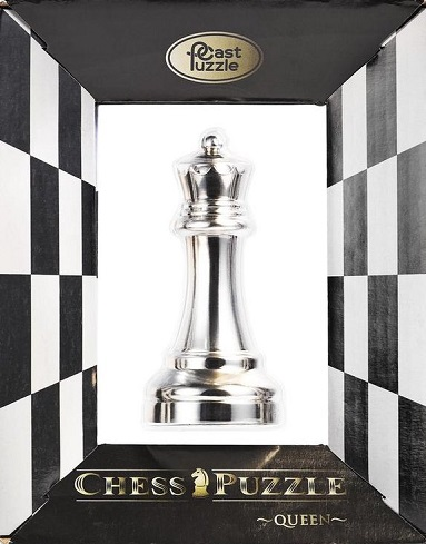Cast Puzzle Chess Queen (Silver)