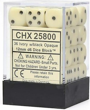 Chessex 36d6 Opaque Ivory/Black 12mm (36) - CHX25800